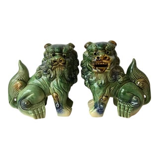 Majolica Style Ceramic Food Dogs - A Pair