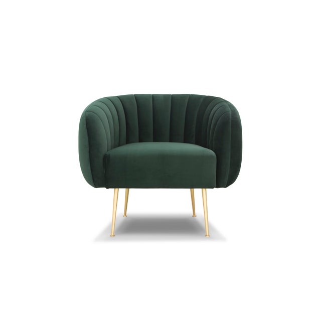 Channeled Side Chair in Dark Green - Image 4 of 6