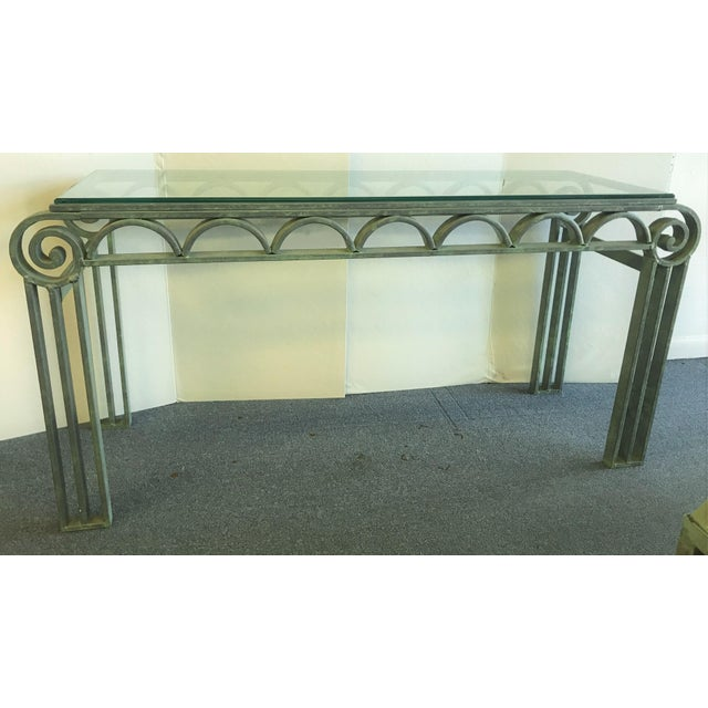 Neoclassical Neoclassical Iron Scroll Console Table in a Verdigris Finish For Sale - Image 3 of 12