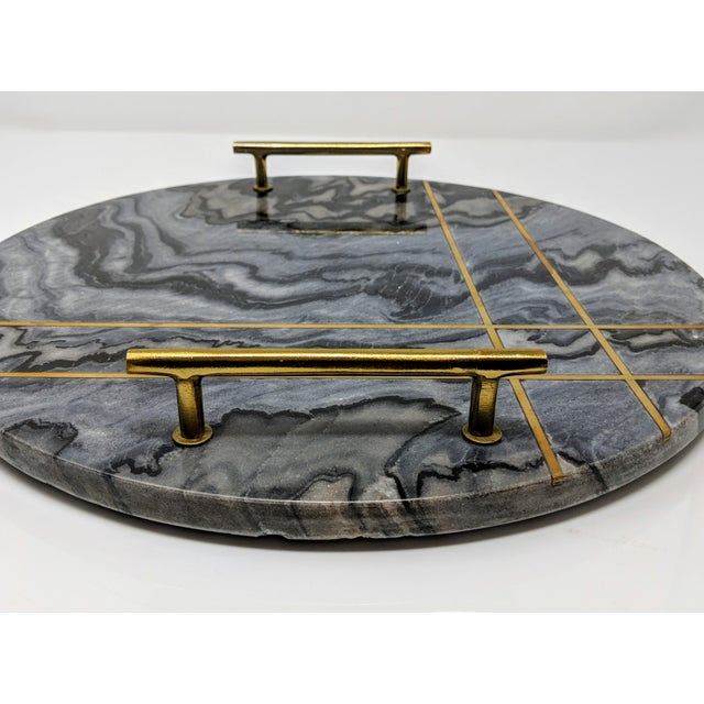 Gray Gray Marble and Brass Circular Tray For Sale - Image 8 of 13
