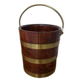 Antique Irish Peat Bucket With Brass Straps and Handle For Sale