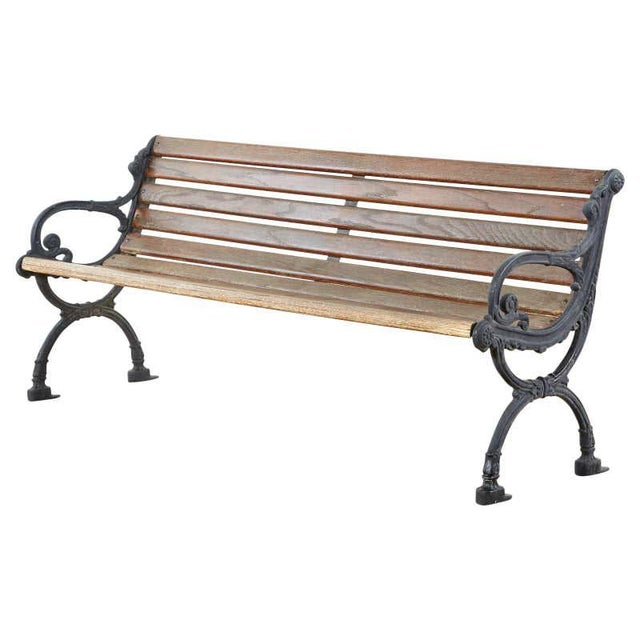 Neoclassical Style Cast Iron and Wood Park Bench For Sale - Image 13 of 13