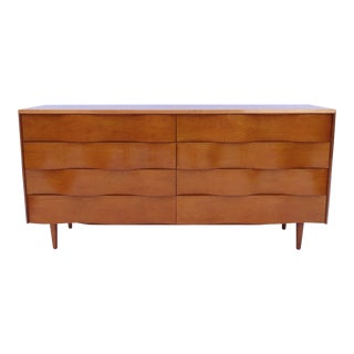 Edmond Spence Wave Front Long Dresser/ Credenza, Orig. Finish, Made in Sweden For Sale