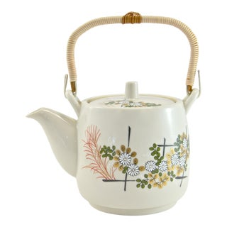 Japanese Floral Ceramic Teapot For Sale