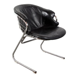 Vintage Mid Century Italian Chrome Cantilevered Bauhaus Chair For Sale