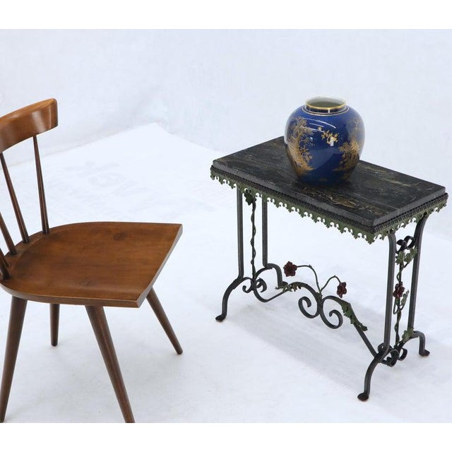 Early 20th Century Black Marble Top Ornate Wrought Iron Side Console Table For Sale - Image 5 of 13