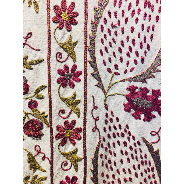 Boho Chic Hand-Embroidered Suzani For Sale - Image 3 of 5