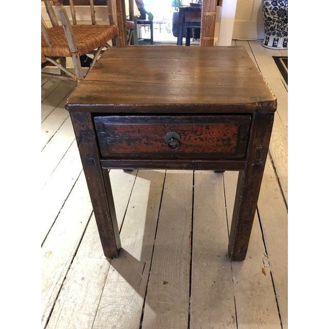 Antique Chinese Rustic Wood End Table With Single Drawer For Sale - Image 12 of 12