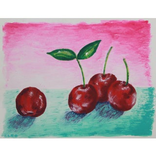 Still Life Cherries Abstract Painting by Cleo For Sale