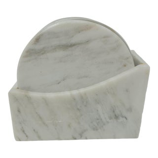 Vintage Marble Coasters in Marble Box Set of 7 For Sale