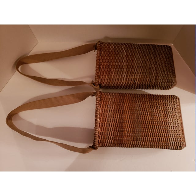 Vintage Wood Bottom, Canvas Strap Wicker Baskets - a Pair For Sale - Image 4 of 6
