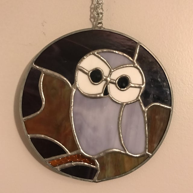 Boho Chic Hanging Stained Glass Owl For Sale - Image 3 of 8