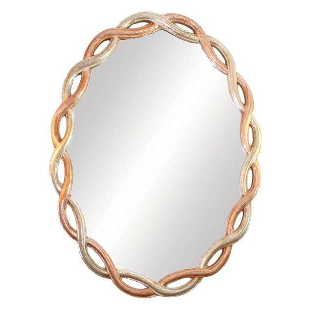 Mid 20th Century Vintage Ethan Allen Gilded Wood Braided Oval Mirror Made in Italy For Sale - Image 5 of 5