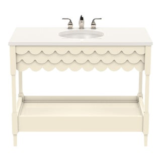 Oomph Custom Large Scallop Vanity (White Dove) Including Stone Top, Sink and Faucet For Sale