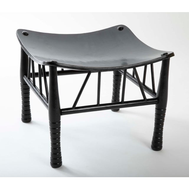 English English 19th Century Egyptian Revival Ebony Thebes Stool For Sale - Image 3 of 9