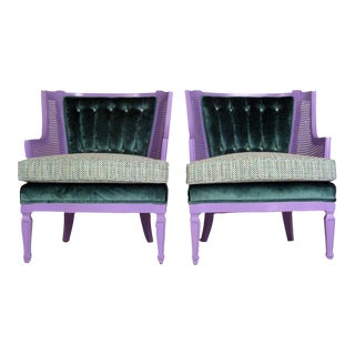 Chanel Style Purple & Teal Caned Slipper Chairs - Pair For Sale