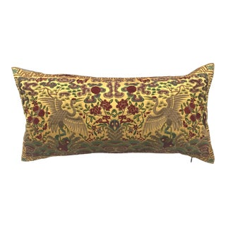 Hollywood Regency Yellow Gold Silk Embroidered Chinoiserie Boudoir Lumbar Pillow For Sale