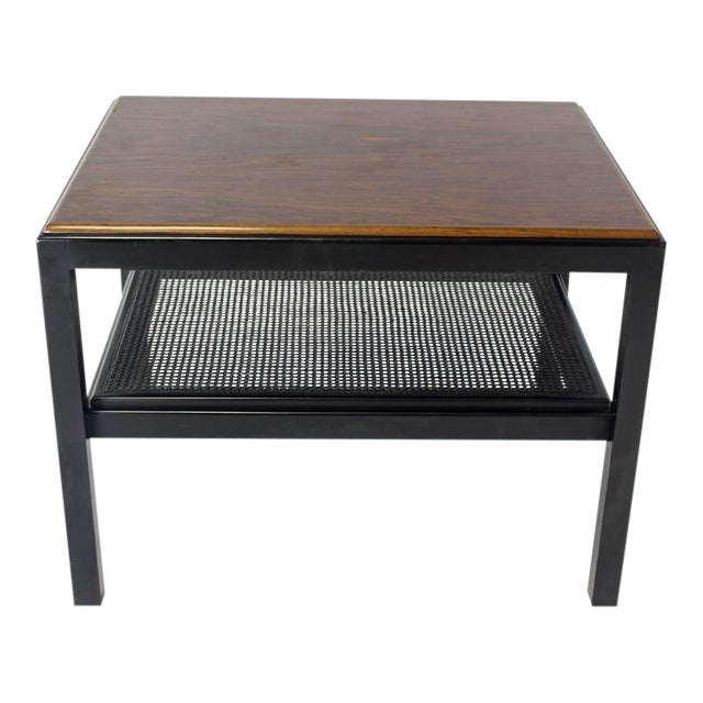 Rosewood Top Black Lacquer Base with Cane Shelf Side Coffee Table For Sale