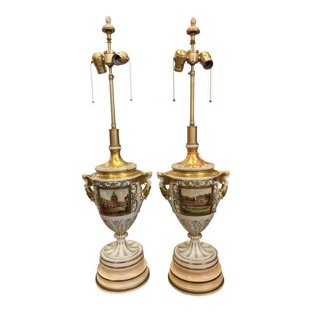 Antique Dresden German Porcelain Lamps - Carl Thieme Potschappel For Sale