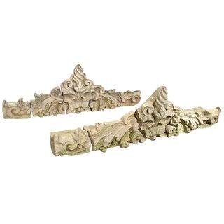 Pair of 19th Century European Stone and Terra Cotta Overdoors For Sale
