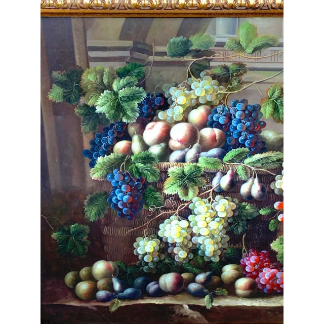 Mid 20th Century European Still Life of Grapes on a Ledge, Unsigned For Sale - Image 5 of 11