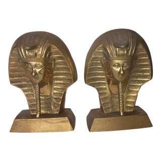 Vintage Brass Pharaoh Bookends - a Pair For Sale
