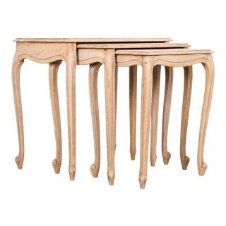 1950s Belgian Oak Nesting Tables For Sale