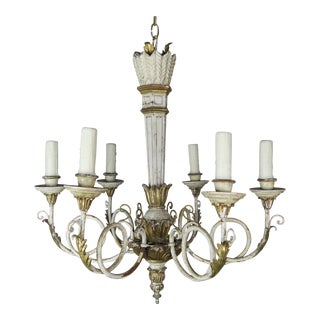 Italian Painted and Parcel-Gilt Neoclassical Style Chandelier For Sale