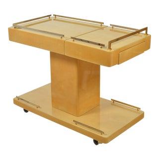 Aldo Tura Italian Cocktail Cart - Bar Cart in Lacquered Goatskin For Sale