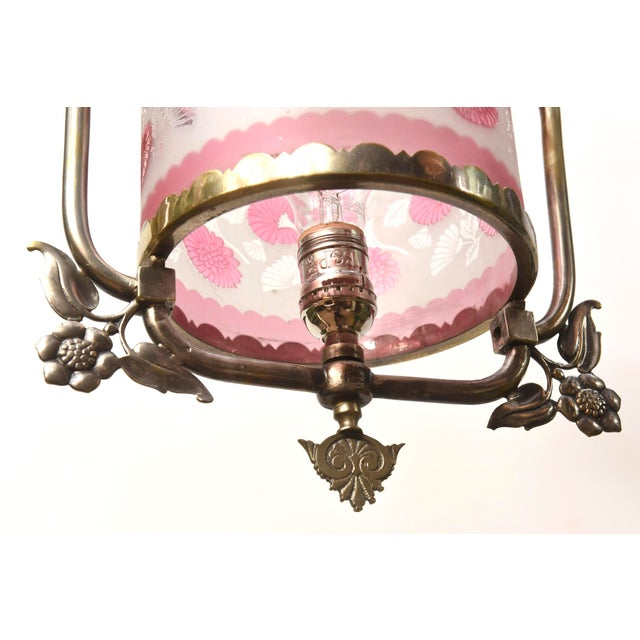 Traditional Nickel Victorian Harp Lantern with Original Floral Pink Glass For Sale - Image 3 of 12