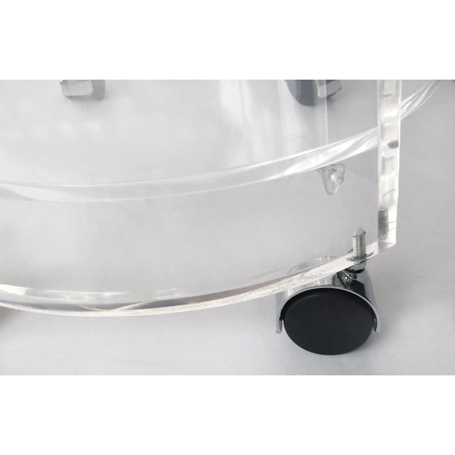 Round Lucite Bar Cart on Casters For Sale - Image 9 of 11