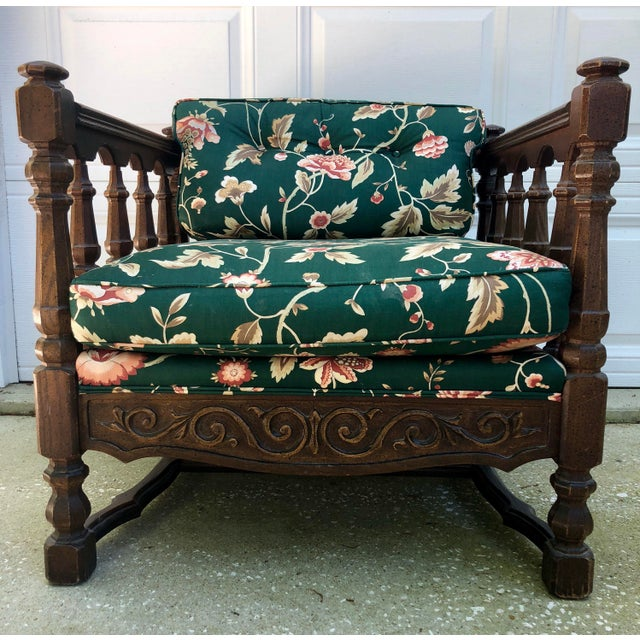Mid-Century Floral Upholstered Wooden Cube Chair For Sale - Image 4 of 12