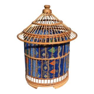 Asian Rattan Bird Cage Pagoda Lantern Lamp With Batik Fabric For Sale