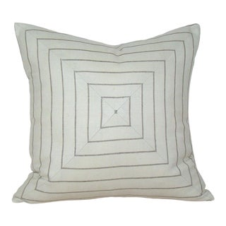 Ivory & Taupe Mitered Stripe Pillow Cover For Sale