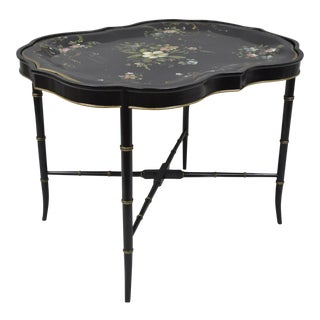 Scalloped Tole Metal Tray Table