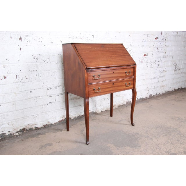 French French Louis XV Style Mahogany Drop-Front Secretary Desk With Mother Of Pearl Inlay For Sale - Image 3 of 13