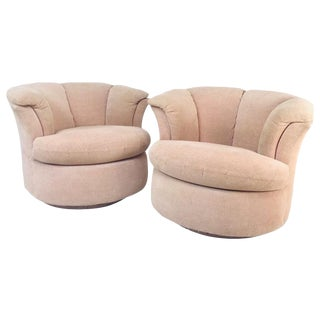 Pair of Directional Lotus Style Swivel Chairs For Sale