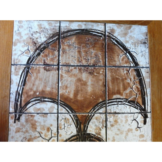 70's Abstract Painted Tile Top Danish Modern Coffee Table Signed For Sale - Image 9 of 11