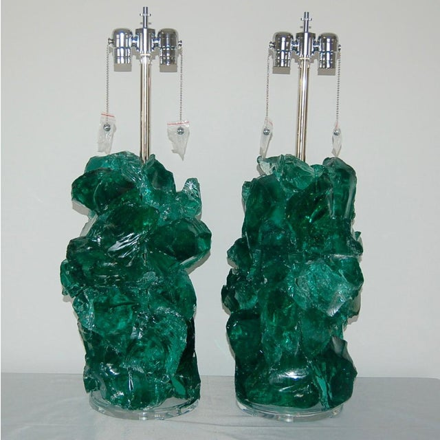 Abstract Glass Rock Table Lamps by Swank Lighting Jade Green For Sale - Image 3 of 9