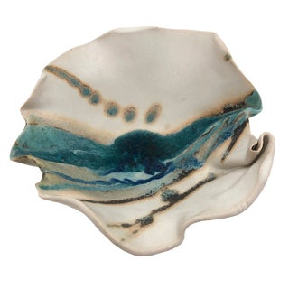 Charles Focht Tucson Studio Pottery Footed Bowl With Crystalline Glaze For Sale