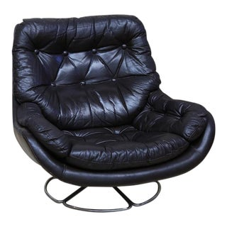 70s Leather Swivel Lounge Chair