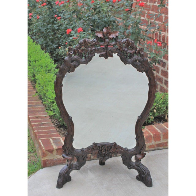 Brown Antique French Oak Black Forest Framed Wall or Easel Standing Mirror Firescreen For Sale - Image 8 of 13
