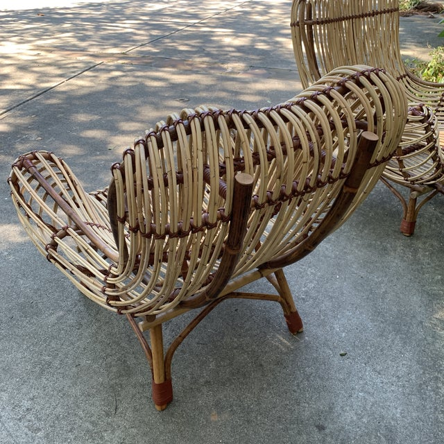 Brown Modern Franco Albini Style Rattan Armchairs- A Pair For Sale - Image 8 of 10