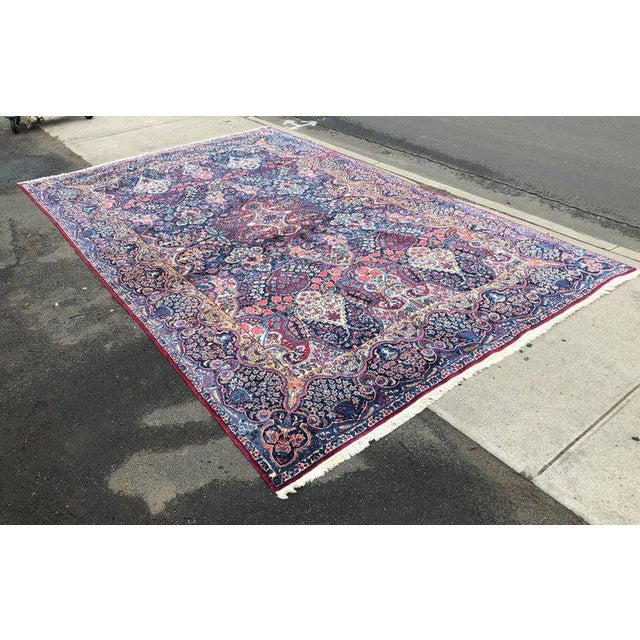 Islamic Palatial Antique Persian Carpet With Red Border, Blues, Reds, Creams, Kermin For Sale - Image 3 of 13