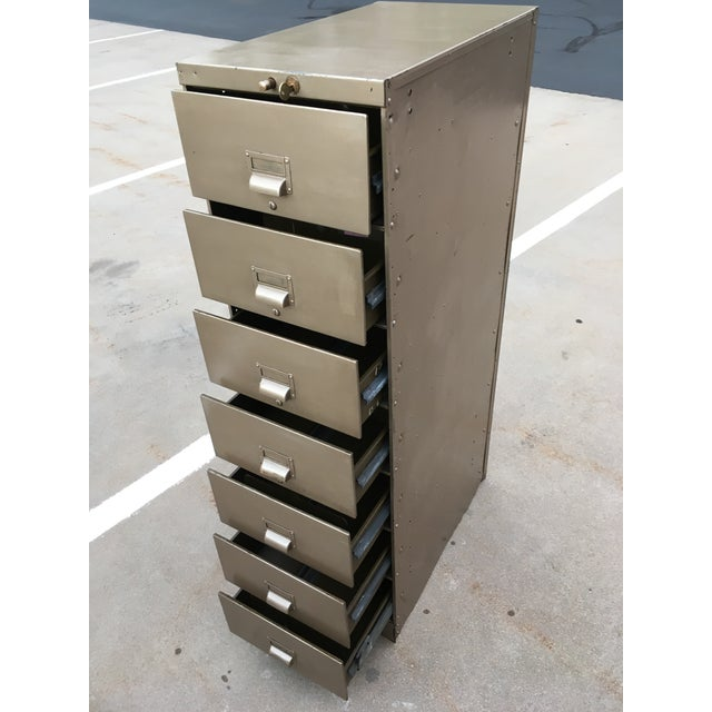 1930s Art Metal Industrial 7-Drawer Vertical File For Sale - Image 9 of 13