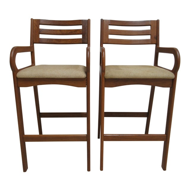 Danish Modern Teak Ladder Back Bar Counter Arm Stools - a Pair For Sale