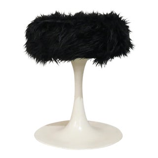 Mid Century Saarinen Style Swivel Stool Chair With Mongolian Black Faux Fur For Sale