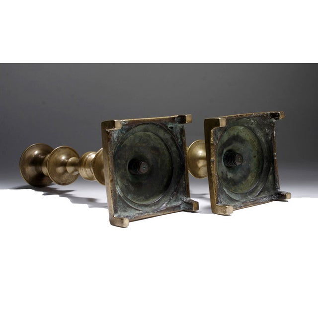 19th Century Russian Brass Candlesticks- a Pair - Image 4 of 5