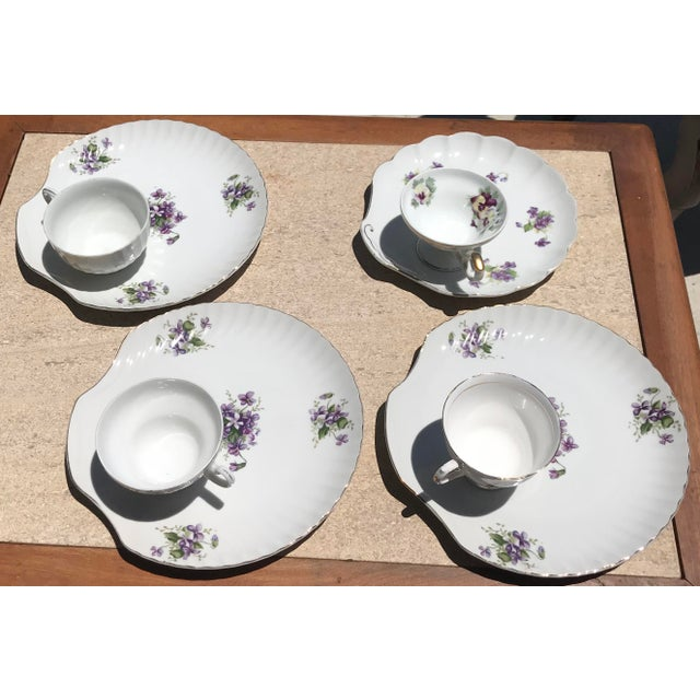 Ceramic 1990s Mid-Century Modern Purple Floral Tea Time Snack Plates and Cups - 8 Pieces For Sale - Image 7 of 7