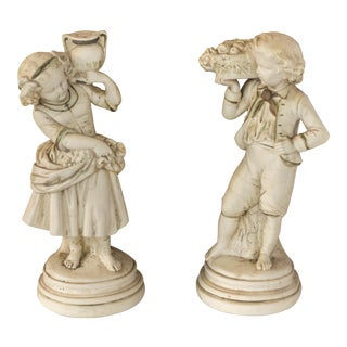 Vintage Abco Alexander Backer Girl and Boy Statues - A Pair